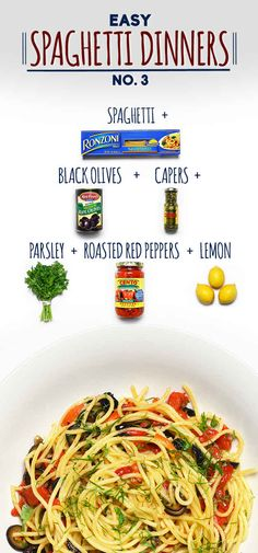 How To Make Spaghetti With Olive, Capers And Roasted Red Peppers