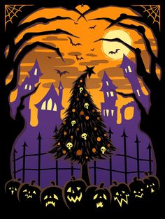 TNBC Fan Poster by raevynewings on DeviantArt Halloween Canvas, Halloween Painting, Halloween Art, Halloween Themes, Vintage Halloween, Happy Halloween, Halloween Humor, Halloween Stuff, Purple Halloween