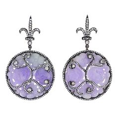 lavender jade and diamond jewelry | Carved Lavender Jade Diamond Earrings at 1stdibs