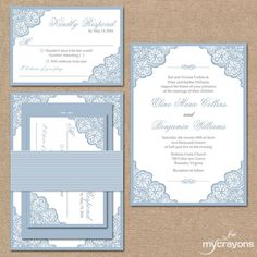 Elegant Lace Wedding Invitation Suite Square by MyCrayonsPapeterie