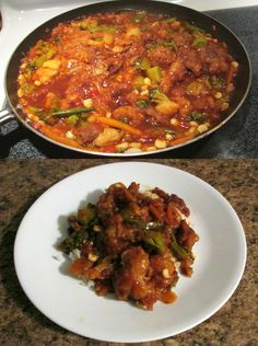 Sweet and Sour Pork Stir Fry.    Cook to much pork roast and froze the excess?  Cube or separate the pork, roll in cornstarch (to make next coatings), then in beaten egg/milk and finally in seasoned flour and baking powder.    Cook at a higher heat setting until golden brown.  Cook frozen stir fry mix with sweet and sour sauce.