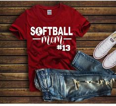 Cute Softball MOM Shirt, Custom Softball Shirt - Custom Softball Gift - Christmas Gift Softball Mom - Personalized Softball Mom Shirt - tee by lovemighty on Etsy Softball Mom Shirts, Baseball Mom, Baseball Shirts, Sports Shirts, Baseball Season, Softball Stuff, Softball Crafts, Softball Cheers, Softball Bows