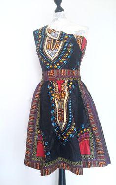 One shoulder african mini wax print dress von Urban-Apparel auf DaWanda.com