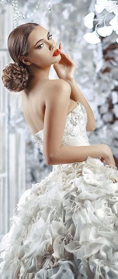 Simply Beautiful, Beautiful Women, Happy September, Unique Fashion, Ruffles, One Shoulder Wedding Dress, Beautiful Pictures, Wedding Day, White Dress