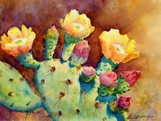 CACTUS BLOOMS & BUDS by Mary Shepard  ~ 7 1/2 x 9 1/2 image size