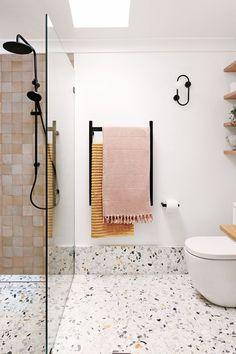 My bathroom renovation - it's all about terrazzo and Moroccan tiles - We Are Scout Bathroom Renos, Laundry In Bathroom, Bathroom Renovations, Small Bathroom, Home Remodeling, Master Bathrooms, Bathroom Ideas, Bathroom Organization, Bathroom Designs