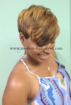 Short Pixie with deep Layers. Styling Options to achieve this look can be: Quick Weave, 27 Piece,Custom Styled Wig Or your own hair.