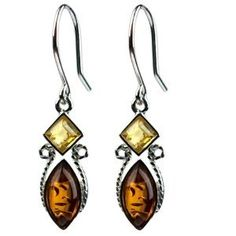 Certified Genuine Multicolor Amber Sterling Silver Square Marquise Small Earrings