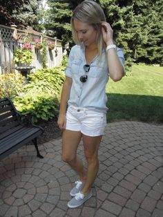 Chambray shirt, white cut-off shorts and sneakers! Check out the blog for more looks..