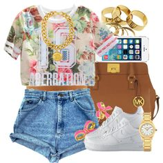 Aberration. by livelifefreelyy on Polyvore featuring polyvore, fashion, style, NIKE, Michael Kors, Versace, Fendi, Kate Spade and SummerLit