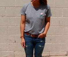 DIY embroidered motif tshirt #diy #refashion #embroidered #embroidery