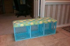 Fun ideas for DIY upcycled milk crate furniture and home decor made from repurposed milk crates. Milk Crate Bench, Milk Crate Furniture, Diy Furniture, Crate Stools, Classroom Design, Classroom Themes, Classroom Organization, Organizing School, Plastic Milk Crates