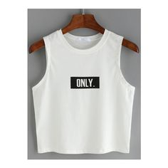 SheIn(sheinside) Top imprimé lettres sans manche -blanc ($6.48) ❤ liked on Polyvore featuring tops, crop top, shirts, white, blusas, blanc, stretch cotton shirt, white tank top, print shirts and white vest