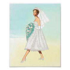 Cheryl Vintage Fashion Illustration Fifties Bride Poster - wedding decor marriage design diy cyo party idea