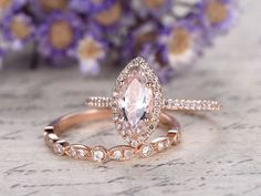 $745.00 .  Ring can be resized. 30-Day Money Back guarantee.  Jewelry Details: Main stone: 10x5mm Marquise Cut 1ctw Natural Pink Morganite,VVS Clarity  Accent Stones: 0.27ct Round Cut Natural Conflict Free Diamonds,SI Clarity,H color 1pc matching ring Band Width approx 2.3mm 0.13ctw Round Cut SI-H Natural...