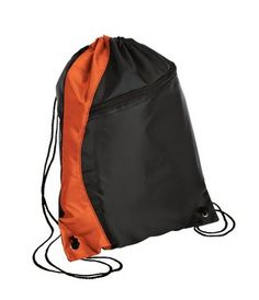 Cinch Pack, large zippered front pocket at True to Size Apparel online. Personalized or blank draw string backpacks for kids.