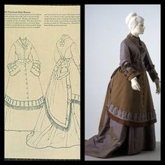 1868-9 A promenade dress in dull greenish-brown alpaca trimmed with powder blue silk with a thread stripe in matching brown. Bronze silk fringe is used for the tassels and overskirt. The V&A. Patterns of Fashion 2 page 26