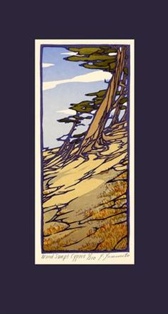 This linoleum block print was based on Y. Yamamoto's sketch of the cliffs and cypress trees near the Golden Gate Bridge in San Francisco. Limited edition of The Arts and Crafts Press. Landscape Prints, Landscape Art, Linocut Prints, Art Prints, Block Prints, Linoleum Block Printing, Arts And Crafts Movement, Woodblock Print, Art Techniques
