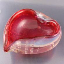 Cranberry Opalescent Bullicante Heart Shaped Art Glass Bowl