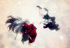 Inuyasha and Kagome the red string of fate >>> I love this image so much Inuyasha Fan Art, Inuyasha And Sesshomaru, Kagome And Inuyasha, Miroku, Kagome Higurashi, All Anime, Manga Anime, Manhwa, Mai Hime