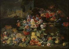 Brueghel Abraham (1631–1697) Цветы и фрукты (Flowers and fruits) 1677_127 х 177 Брюссель, Королевский музей изящных искусств Art Sculpture, Still Life, Painting, Wine Cellars, Illustrations, Artists, Flowers, Baroque Painting, Antwerp