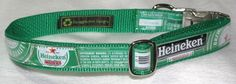 Adjustable Dog Collar from Recycled Heineken Beer Labels by squigglechick on Etsy