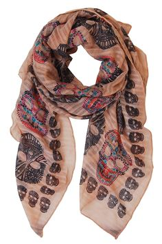 Humble Chic Sugar Skull Scarf - Long Oversized Lightweight Printed Shawl Wrap for Women - Bohemian Ethnic Day of Dead Oblong Sheer Cool Weather Accessory, Black, Lime Green, Blue, Ivory-White Multi Coloured Scarves, Colorful Scarves, Skull Scarf, Skull Fashion, Lightweight Scarf, Skull Print, What To Wear, Style Me, Fashion Accessories