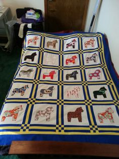 Swedish Dala Horse Applique Quilt for our grandfather