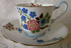 AYNSLEY 1930's Bone China England cup & saucer #B1835 floral. RARE.