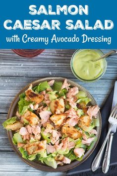 Cooked too much salmon? Turn it into this super easy Salmon Caesar Salad with a delicious Creamy Avocado Dressing. The whole salad takes only 15 minutes to make, so ideal for a quick lunch or dinner. Side Dishes Easy, Side Dish Recipes, Dinner Recipes, Dinner Ideas, Healthy Salad Recipes, Vegetarian Recipes, Veggie Recipes, Fish Recipes, Salmon Recipes