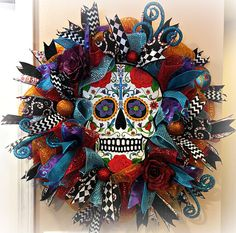 Your place to buy and sell all things handmade Diy Halloween Decorations, Halloween Crafts, Halloween Wreaths, Scary Halloween, Deco Mesh Wreaths, Holiday Wreaths, Day Of Dead Tattoo, Sugar Skull Decor, Horror Decor