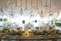 Lanterns, blooms and flickering candles at Hilary Duff's wedding. Photo Credit: Simone and Martin Photography
