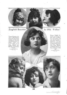"""Ziegfeld Beauties In 1916 'Follies'"" Top l. to r.: Zitelka Dolores, Jean Barnette, Virginia Gunther in the middle: Elinor St. Clair (?) Bottom l. to r.: Opal Essereli, Cassie Qualters, Marion Davies"