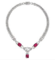 Lot 326 - PLATINUM, RUBY AND DIAMOND NECKLACE
