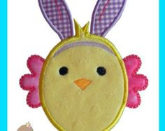 Girly Easter Chick 16 Applique Design by AppliqueMommaDesigns