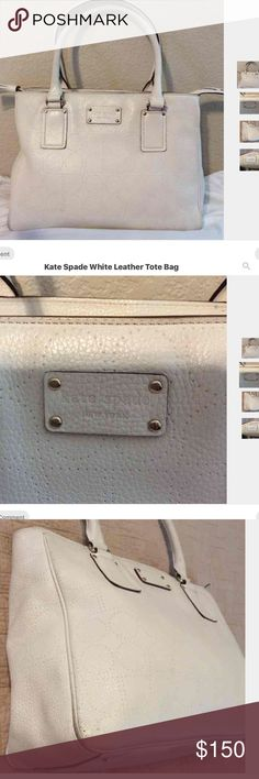 Reposh Kate Spade White Leather Tote Bag Beautiful perforated logo leather bag, as normal of white leather, some spots on corners at the bottom and on handles, ask if you want more pictures Kate Spade Bags Satchels