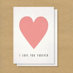 VALENTINES DAY CARD  Love you Forever Love you for by HENANDCO, $5.00