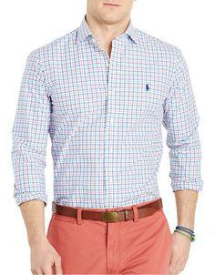 POLO RALPH LAUREN Polo Ralph LaurenSlim-Fit Poplin Check Shirt. #poloralphlauren #cloth #