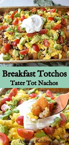 Tater Tot Nachos for breakfast? Yes please. Golden tater tots, smothered in melted sharp cheese and topped with scrambled eggs, bacon, tomato, avocado, green onions and sour cream. Totchos are wonderful for feeding a crowd and so easy to make. #CabotBudgetMeals #sponsored #Glutenfree #breakfast #brunch Best Breakfast Recipes, Brunch Recipes, Brunch Ideas, Sweets Recipes, Tater Tot Nachos, Tater Tots, Fun Easy Recipes, Gluten Free Recipes, Easy Meals