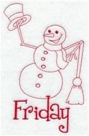 Machine Embroidery Designs at Embroidery Library! - A Days of the Week Redwork Snowmen Pack - Lg