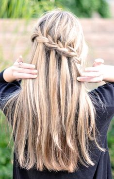 Waterfall Braid Hairstyle for Long Hair I want to do this to Maci's hair