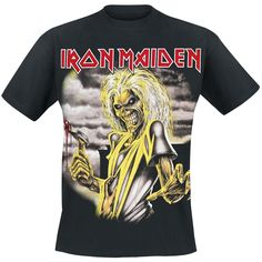 "Exclusive to EMP: the black band shirt of Iron Maiden. On the front it wears the cover of the album ""Killers"", on the back it shows the text ""Killers""."