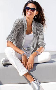 Light Grey Cardigan ,white top & skinnies