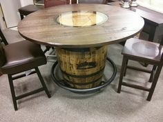 One of our most popular items: the Jack Daniel's Pub Table! Using authentic Jack Daniel's casks as the base for our handcrafted wooden tabletop.