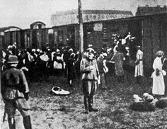 Jews being herded into the box-cars to death camp Treblinka. This is the last day of their lives