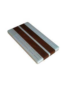Mahogany Cribbage Board Maple Inlay