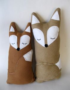 crafty foxes -- to think of all the stuffed animals my Grandma made for me like these...  (Yes, I still have them all.)
