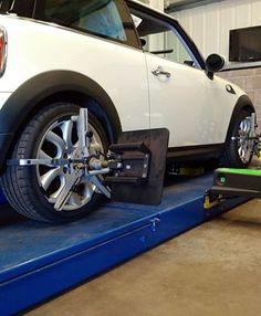 Mini Wheel Alignment correction in progress. Wheel Alignment, Edinburgh, Centre, 3d, Mini