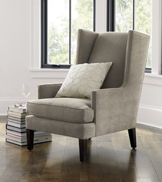 Our modern wing chair is a casual update on the traditional parlor chair… Rocking Chair Cushions, Comfy Chair, Sofa Table Decor, Living Room Chairs, Living Rooms, Upholstery Fabric For Chairs, Rustic Chair, Wing Chair, Take A Seat