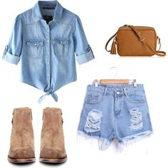 Denim on Denim. by jeanette-tinoco on Polyvore featuring Chicnova Fashion, H by Hudson and GiGi New York